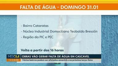 Neste domingo (31) vai faltar água no bairro Cataratas, em Cascavel - O motivo, segundo a Sanepar, é a realização de obras no bairro.
