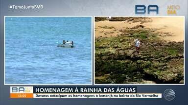 Baianos antecipam homenagens à Iemanjá neste fim de semana, por causa da pandemia - Este ano, a orla do Rio Vermelho vai ser interditada no tradicional 2 de fevereiro, para evitar aglomerações.