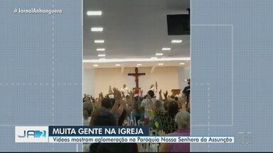 Missa tem aglomeração, em Goiânia - Flagrante foi feito na Paróquia Nossa Senhora da Assunção.