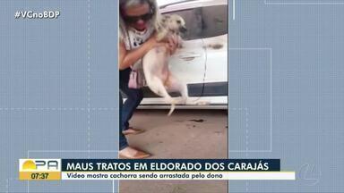Vídeo mostra cachorra sendo arrastada pelo dono em uma moto - maus tratos em Eldorado.