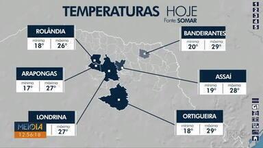 Tempo segue instável em Londrina - Pancadas de chuva podem ocorrer a qualquer momento.