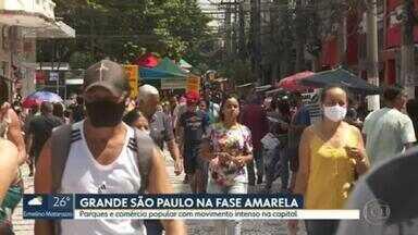 Grande SP vive três fases do Plano São Paulo em uma semana - Última reclassificação colocou a região na fase amarela, menos restritiva que a anterior, laranja.