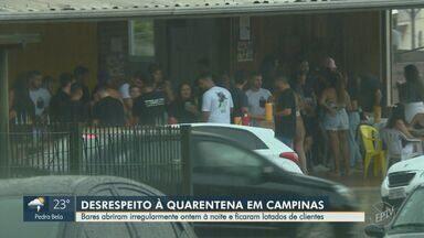Bares desrespeitam a quarentena em Campinas e abrem irregularmente nesta sexta (5) - A metrópole ainda estava com o horário na fase vermelha do Plano São Paulo. Clientes sem máscara não respeitaram o distanciamento social.