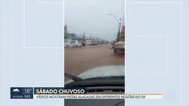 Chuva deixa ruas alagadas em diferentes regiões - Segundo o Inmet, deve chover ao longo de todo o sábado, mas não há previsão de temporal, como visto nos últimos dias. A primeira semana de fevereiro já registrou 67% do volume de chuva esperado para todo o mês.