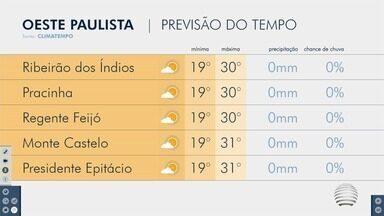 Meteorologia prevê sábado quente na região de Presidente Prudente - Confira como ficam as temperaturas no Oeste Paulista.