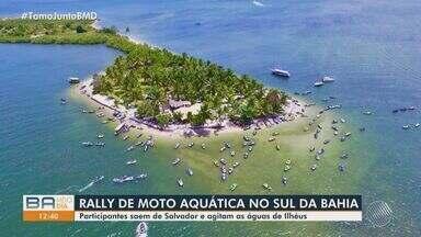 Rally de motos aquáticas em mar aberto acontece no sul da Bahia - Grupo de participantes fizeram o percurso Salvador - Itacaré pilotando jet skis. Eles chegaram na praia neste sábado (6).