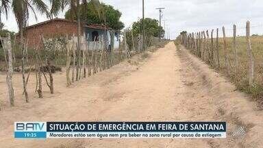 Feira de Santana enfrenta situação de emergência por causa da estiagem prolongada - Por causa da falta de chuvas, moradores da zona rural do município estão enfrentando dificuldades.