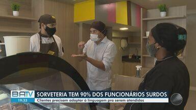 Empresário surdo abre sorveteria onde quase todos os funcionários também são surdos - Empreendimento fica localizado no bairro da Barra, em Salvador.
