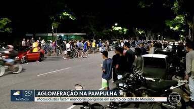 Evento clandestino causa aglomeração na Pampulha e termina em perseguição e baleado - Encontro de motociclistas no entorno do Mineirão tinha manobras arriscadas e disputas em alta velocidade.