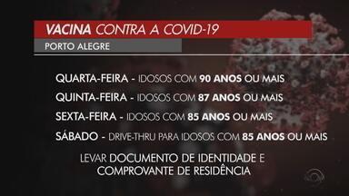 Porto Alegre inicia vacinação contra Covid-19 de idosos acima de 90 anos - Secretária Municipal da Saúde divulgou o cronograma oficial.