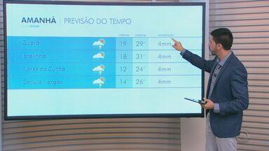 Previsão é de chuva fraca e calor no RS nesta quarta-feira (10) - Assista ao vídeo.