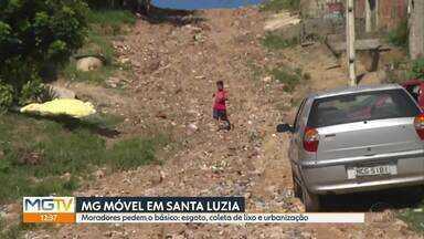 MG Móvel mostra apelo de moradores por regularização das moradias, em Santa Luzia - Para realizarem obras, Copasa e Prefeitura esperam regularização dos imóveis.