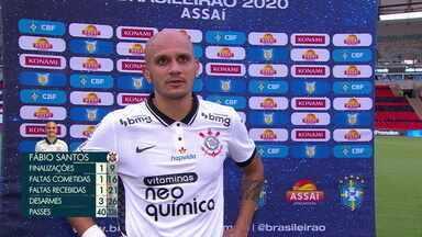 """Fábio Santos diz que estratégia do Corinthians foi seguida em campo e lamenta derrota: """"Tomamos gol muito cedo"""" - Fábio Santos diz que estratégia do Corinthians foi seguida em campo e lamenta derrota: """"Tomamos gol muito cedo"""""""