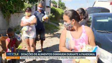 Doações de alimentos para Central Única das Favelas diminui durante a pandemia - Central Única das Favelas não consegue atender todos os pedidos de alimento feito pelas famílias.