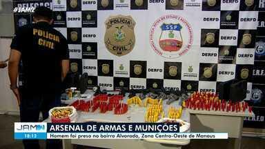Arsenal de armas e munições é apreendido em Manaus - Homem foi preso no bairro Alvorada