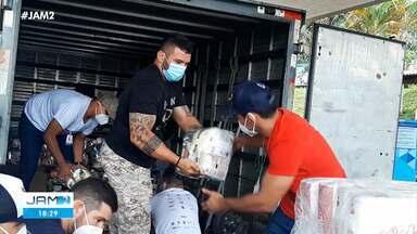 Agricultores da zona rural de Presidente Figueiredo recebem doações - Agricultores da zona rural de Presidente Figueiredo recebem doações