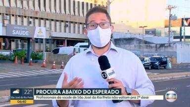 Procura pela 2ª dose da vacina contra a Covid-19 está abaixo do esperado, no interior de SP - Profissionais da saúde de São José do Rio Preto não voltam pra tomar a 2ª dose.
