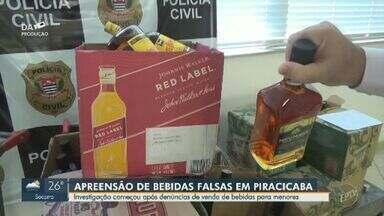 Polícia apreende bebidas falsificadas em local que fazia venda a menores em Piracicaba - Na operação no bairro Piracicamirim, três pessoas foram detidas. A investigação mostrou que uma adolescente teve coma alcóolico após ingerir os produtos.