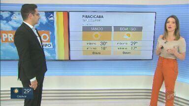 Meteorologia prevê sol forte nas regiões de Campinas e Piracicaba; veja previsão completa - Metrópole e Limeira podem atingir temperaturas acima de 30ºC.