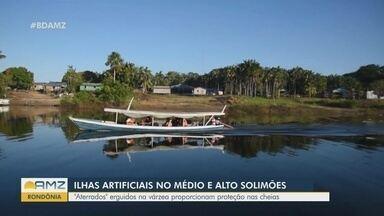 No Médio e Alto Solimões, ilhas artificiais oferecem proteção durante as cheias - Regiões apresentam muitos materiais cerâmicos.