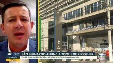 Prefeitura de São Bernardo do Campo anuncia toque de recolher a partir de sábado - Prefeito Orlando Morando falou também sobre o adiamento da retomada da volta às aulas presenciais na rede pública e suspensão na rede privada.