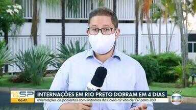Internações por Covid-19 dobram em 4 dias em São José do Rio Preto, no interior de SP - Internações de pacientes com sintomas da Covid-19 vão de 137 para 280
