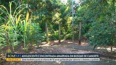 Adolescente foi encontrada acorrentada, em Cianorte - Ela estava em um bosque, disse que foi rendida por um homem e desmaiou depois de ser agredida.