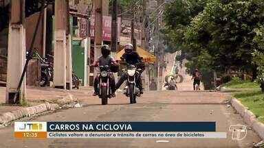 Ciclistas denunciam infrações em espaços destinados a classe em Santarém - Na Fernando Guilhon, carros são vistos com frequência na área destinada aos ciclistas.