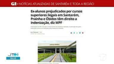 Indenização dada a ex-alunos de cursos superiores é notícia em destaque no G1 Santarém - Acesse a reportagem completa no g1.com.br/tvtapajos
