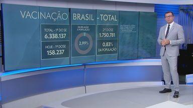 Mais de 6,3 milhões de pessoas já foram vacinadas contra a Covid no Brasil - Até esta quinta (25), 6.338.137 pessoas receberam a primeira dose da vacina contra a Covid-19 no Brasil. Na quarta (24), os estados receberam um novo lote de vacinas e, por isso, o número de vacinados aumentou em relação aos últimos dias.