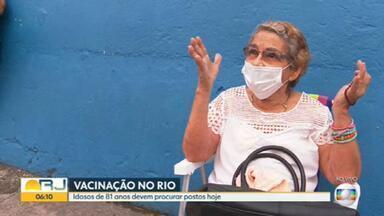 Rio vacina idosos com 81 anos nesta sexta-feira (26) - Nesta sexta-feira (26) idosos de 81 anos devem procurar os postos de vacinação.