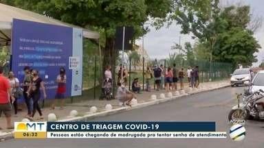 Centro de triagem, na Arena Pantanal, registra fila por senhas - Centro de triagem, na Arena Pantanal, registra fila por senhas