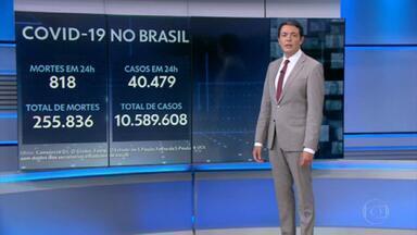Brasil registra recorde na média de mortes por Covid pelo terceiro dia seguido - País registrou 818 mortes pela doença nas últimas 24 horas, chegando ao total de 255.836 óbitos desde o começo da pandemia. Com isso, a média móvel de mortes nos últimos 7 dias chegou a 1.223 - o quinto recorde batido nos últimos seis dias.