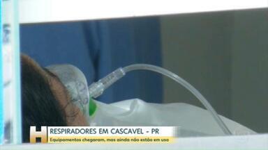 Cascavel, no PR, recebe respiradores prometidos pelo Ministério da Saúde - Equipamentos já chegaram, mas ainda não estão em funcionamento.