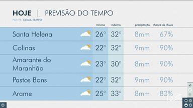 Veja as variações das temperaturas no Maranhão - Confira a previsão do tempo na manhã desta quinta-feira (4) em São Luís e também no interior do estado.