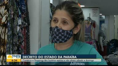 Comércios e shoppings não devem abrir aos finais de semana, em João Pessoa - Decreto define que estabelecimentos não abram e afirma que vai haver fiscalização