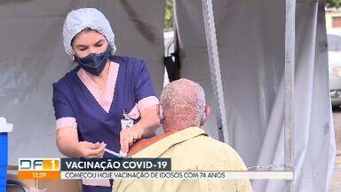 Começou hoje a vacinação de idosos com 74 anos - Com nova etapa de imunização contra a Covid-19, será possível vacinar os 10.273 idosos dessa faixa etária.