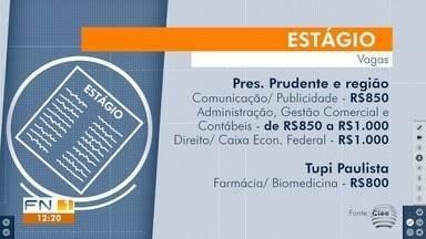 Estudantes têm oportunidades de estágio na região de Presidente Prudente - Confira as vagas disponibilizadas pelo Centro de Integração Empresa-Escola (Ciee).