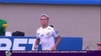 Soteldo deve completar 100 jogos no Santos amanhã contra o Ituano - Soteldo deve completar 100 jogos no Santos amanhã contra o Ituano