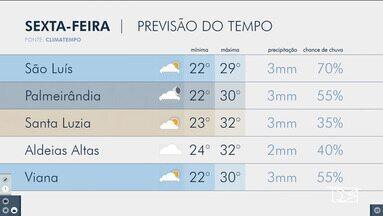 Veja as variações das temperaturas no Maranhão - Confira a previsão do tempo nesta sexta-feira (12) em São Luís
