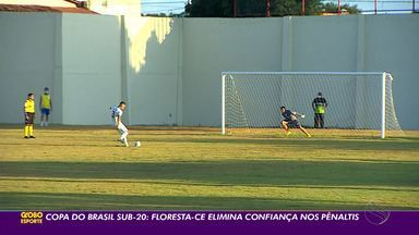 Confiança perde nos pênaltis para o Floresta-CE e é eliminado da Copa do Brasil sub-20 - Equipes empataram em 0 a 0 no tempo normal. Time cearense venceu por 2 a 0 da disputa de pênaltis.