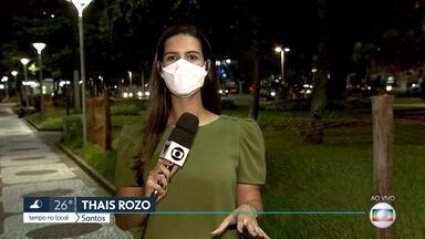 Praias de Santos serão fechadas a partir da meia-noite - Telas e gradis foram instalados para bloquear acesso, dois dias antes da obrigatoriedade pela fase emergencial.