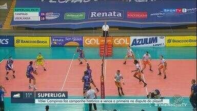 Vôlei masculino de Campinas vence o Uberlândia no ginásio do Taquaral - Partida marcou a abertura das quartas de final da Superliga.