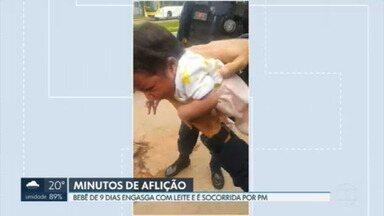 Bebê de nove dias engasga e é salva por policial militar - A bebê Emanuelle engasgou com o leite materno e parou de respirar.