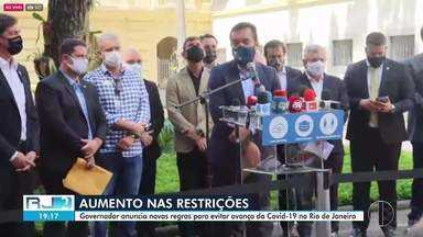 Governador anuncia novas regras para conter avanço da Covid-19 no estado do Rio - Restrições foram divulgadas em coletiva de imprensa nesta sexta-feira (12).