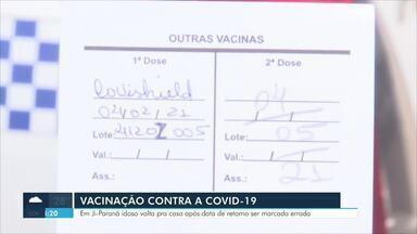 Vacinação contra a Covid-19: Idoso volta pra casa após data de retorno ser marcada errada - Em Ji-Paraná, sexta-feira foi de retorno dos idosos acima de 80 anos aos pontos de vacinação
