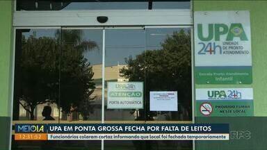 UPA de Ponta Grossa fecha por falta de leitos - Funcionários colaram cartaz informando que local foi fechado temporariamente.