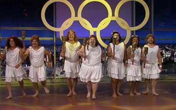 """Ginástica Artística no """"Programa do Jô"""": Jô Soares e o Sexteto mandam bem na coreografia - Juntos, eles mostram que estão prontos para a próxima olimpíada."""