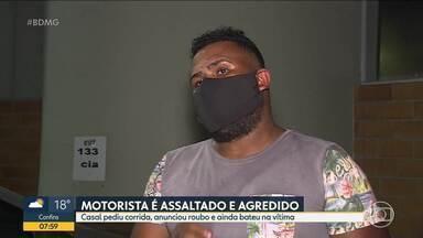 Motorista de aplicativo é assaltado e agredido em Contagem - Casal pediu corrida, anunciou roubo e ainda bateu na vítima.