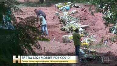Estado de São Paulo tem 1.021 mortes por Covid em 24h - Mais de mil pessoas morreram de Covid no estado de São Paulo nas últimas 24 horas. Esse é o maior número desde o início da pandemia.